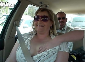 Fat blonde mom sucks and gets groped in the car