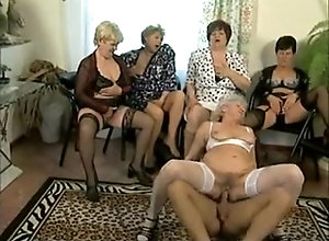 Mature sluts watch a granny being fucked on the floor