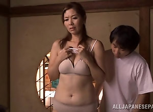 Japanese mature woman has freaky bondage threesome with young perverts