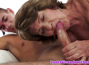Sexy mature granny fucks with a hunk and fets facialized