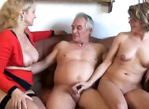 Old pervert has amazing threesome with big breasted mature ladies