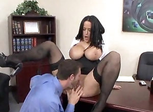 Sexy mature office chick fucks with her boss in office
