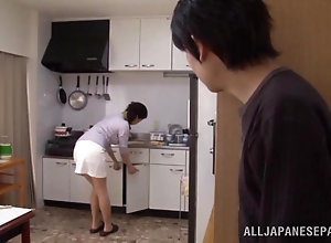Young pervert has fun with tied up busty Japanese mom