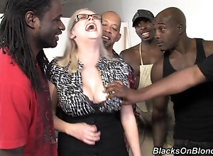 MILF Katie Kox gets gangbanged by many black monster cocks
